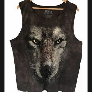 The Mountain Wolf head tank brown size large